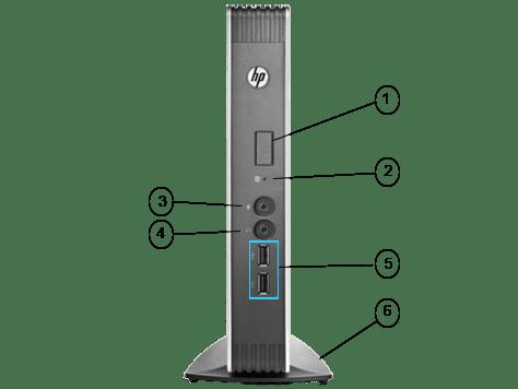 معرفی پورت های جلو تین کلاینت HP T610